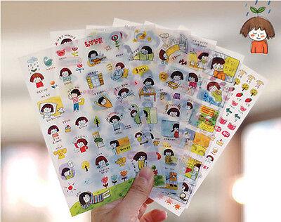 6sheets SSBA watercolor happy girl's diary books Mobile phone decoration sticker
