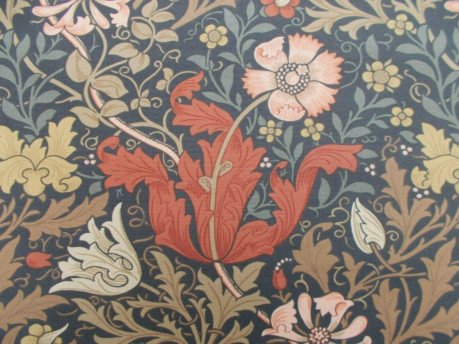 William Morris Curtain Fabric COMPTON 2.7 2.7 2.7 METRES Terracotta Multi - 100% Cotton 29cd53