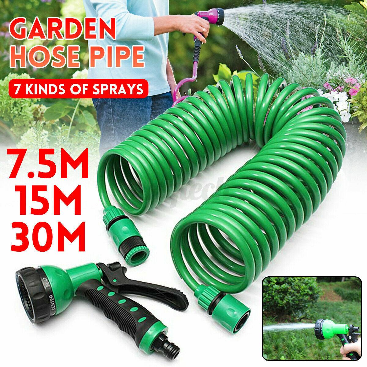 7.5/15/30m EVA Garden Retractable Coil Hose Pipe with Water Spray Gun Nozzle