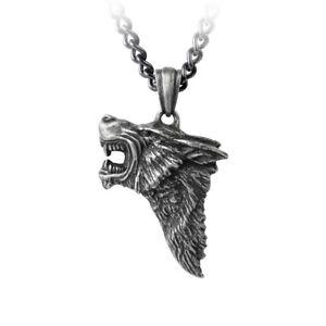 GENUINE-Alchemy-Gothic-Pendant-Dark-Wolf-Mens-Wolve-039-s-Head-Necklace
