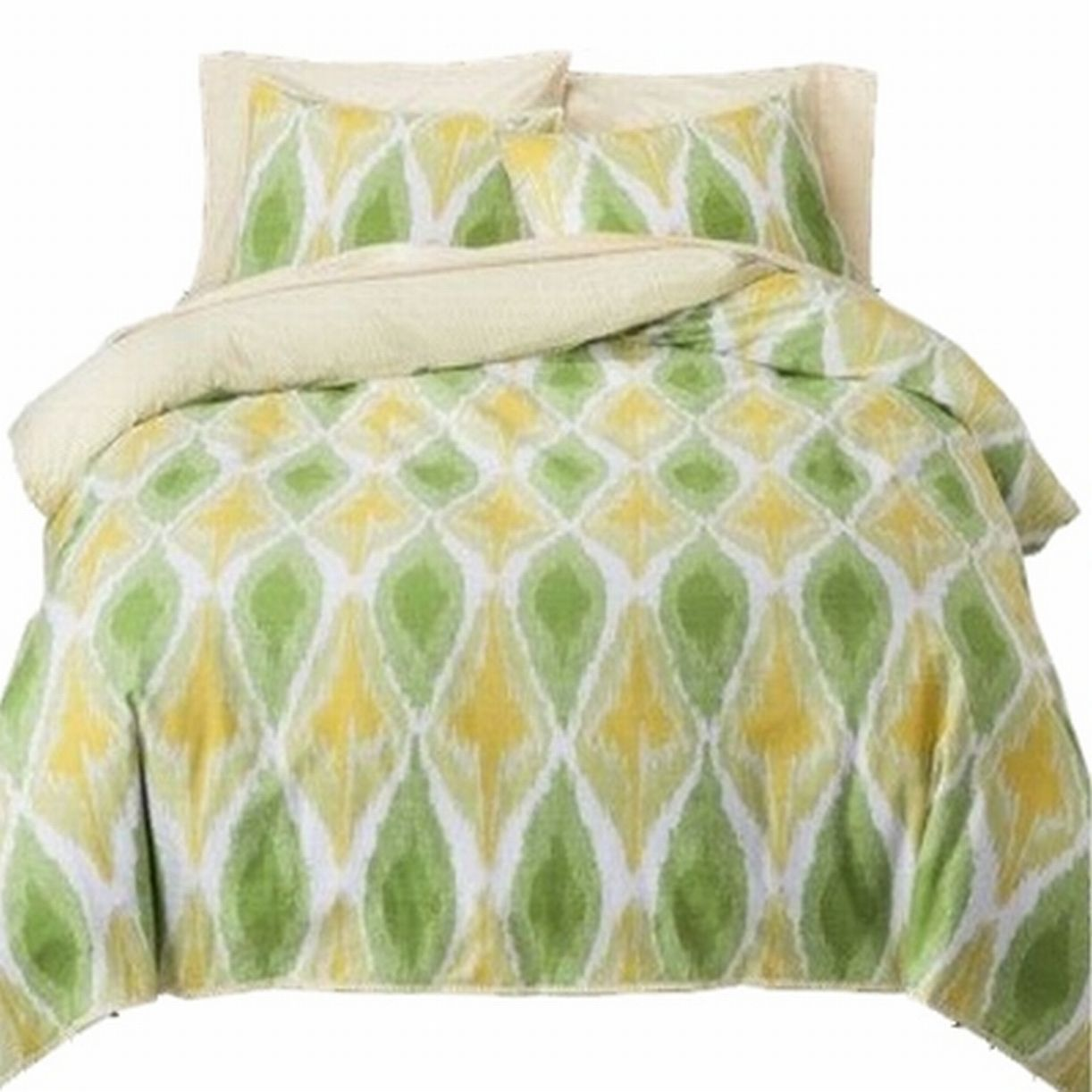 Threshold Yellow & Green Tie Dye Ikat 3 Pc Duvet Cover Set King Size Bed