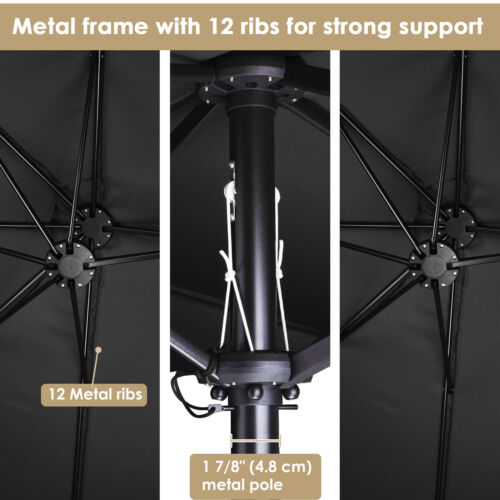 15Ft Double Sided Twin Patio Umbrella with Crank Handle UV Block Outdoor Market