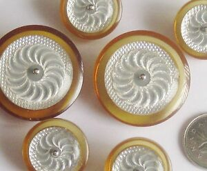 set 6 Lucite APPLE JUICE Vintage buttons SILVER Foil Inlay Mother Daughter Large