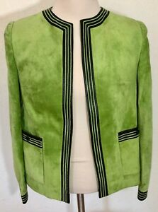 Mario-Hernandez-Suede-Jacket-Lime-Green-Black-Leather-Detail-Size-10-SS0497