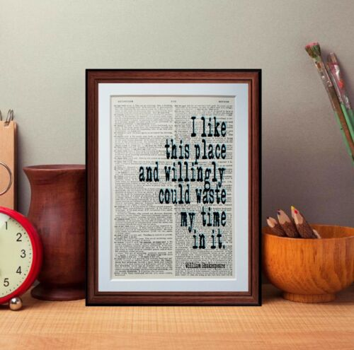 William Shakespeare quote dictionary page vintage art print gift poster quotes