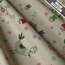 Mushroom Linen Look 100% Cotton Fabric w/ Birds - Cottage Collection (Per Metre)