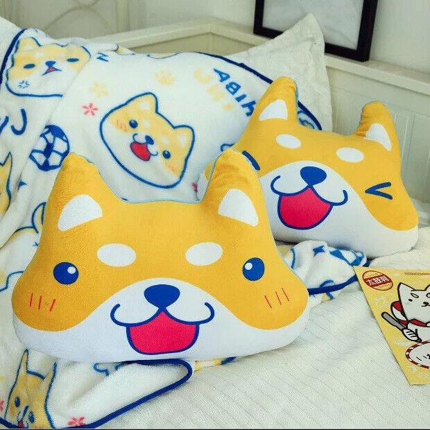 Cartoon Akita Shiba Inu Fleece Blanket Sofa Cover Plush Tapestry Bedding Sheet