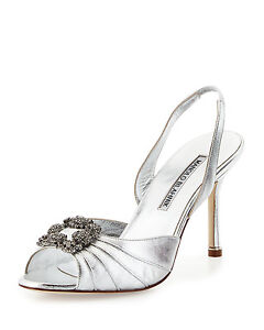 25ea8352122  935 NEW MANOLO BLAHNIK Cassia SILVER HANGISI JEWELED Sandals SHOES ...