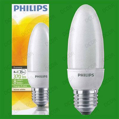 Philips 8w = 35w ES Warm White Screw Cap Light Bulb E27 CFL Candle Bulbs Lamps