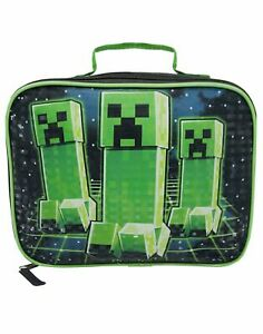Minecraft-Creeper-Game-Kids-Boys-Lunch-Box-School-Food-Container-Children-039-s-Bag