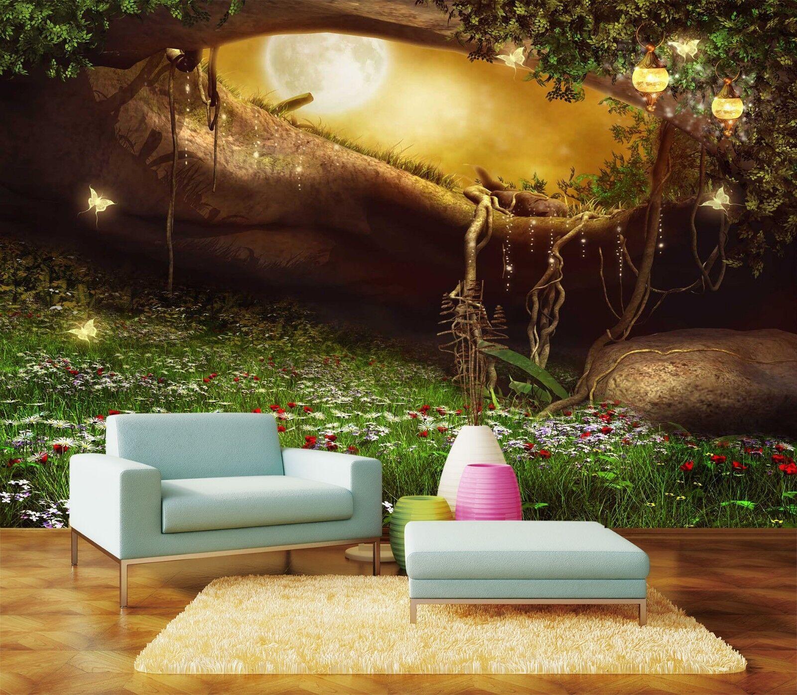 3D Tree Flower 7235 Wallpaper Mural Wall Print Wall Wallpaper Murals US Lemon