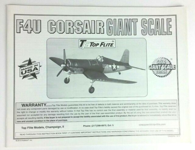 Top Flite GIANT Corsair F4U Instruction / Build Owners Manual Gold Edition  - NEW