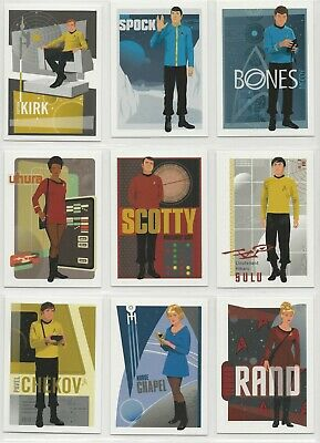 Star Trek Portfolio Prints Complete Bridge Crew Abstracts Chase Card Set U1-U9