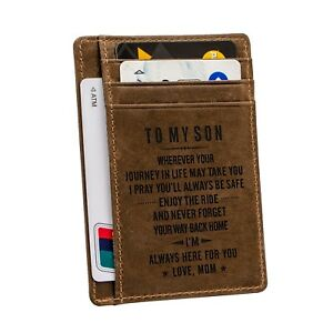 Engraved Leather Front Pocket Wallet Personalized Wallet Card For