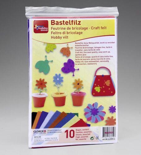BASTELFILZ 10er Set Filz Filzen Basteln viele Farben Wollqualität Filze NEU