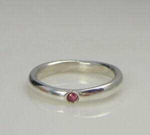 e2edbd2eb Tiffany & Co Sterling Silver Elsa Peretti Pink Sapphire Size 5.5 ...