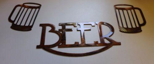 Beer Metal Art Sign w// Beer Mugs Metal Art Copper Size Varies Per Piece