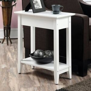 Outstanding Details About New Small End Table Shelf Chair Side Narrow Living Room Wood Accent Side White Pabps2019 Chair Design Images Pabps2019Com