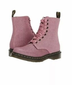 DR MARTENS 1460 Pascal Pink Fine Glitter PU 8 Eye Ankle