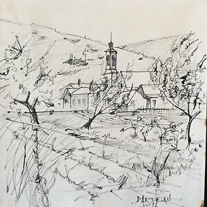 Ink-Landscape-Village-Provencal-Signature-to-Identify-August-66-France