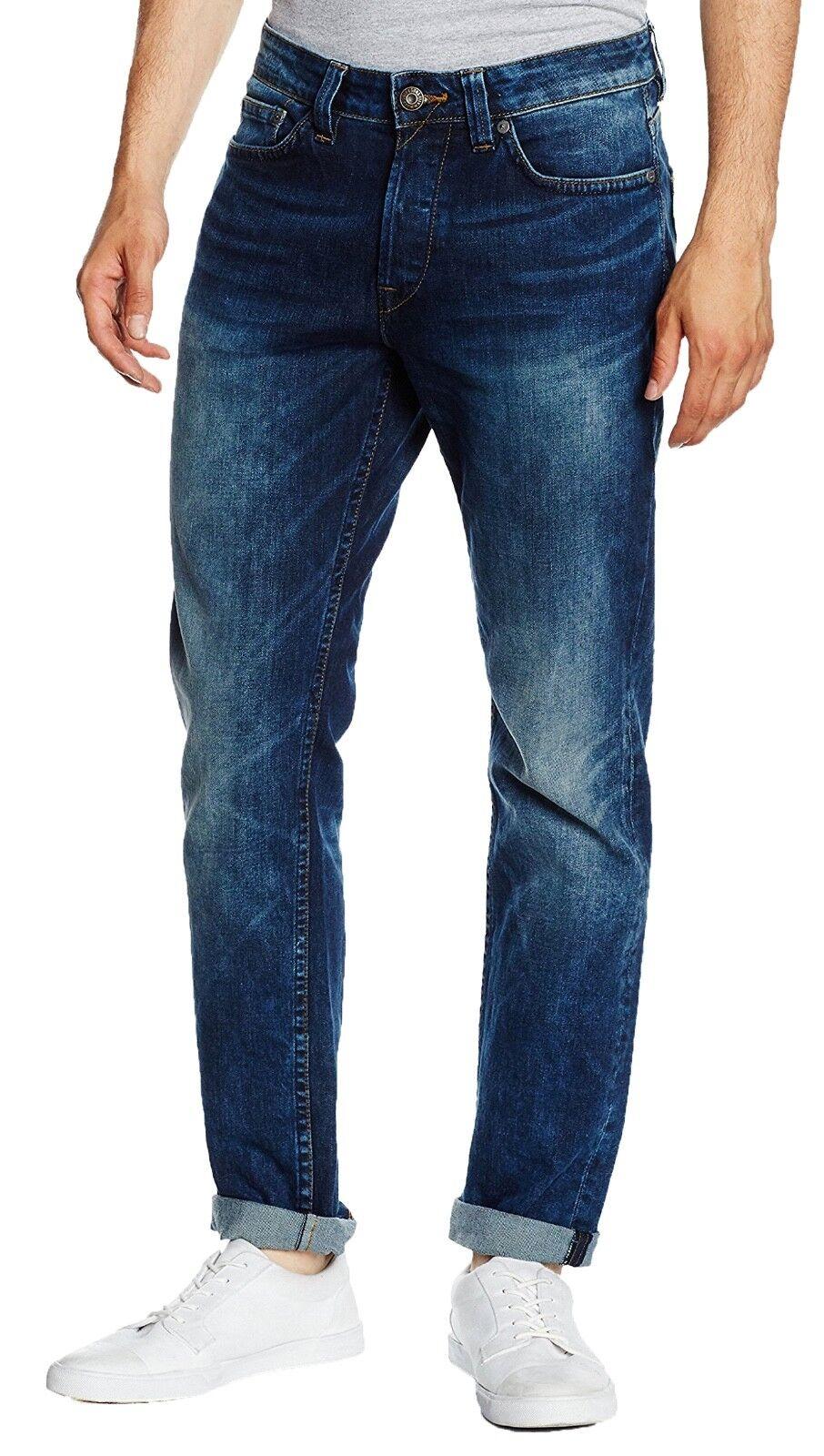 SONS Jeans Mens Weft Regular Fit Vintage Stretch Denim Pants Faded bluee