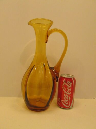 "Mid Century Blenko 12.5"" Tall Amber Art Glass Handled Spouted Pitcher Vase Retro"