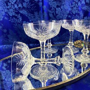 Vintage-Sawtooth-Stem-Cut-Crystal-Champagne-Glasses-Goblets-Set-Of-5