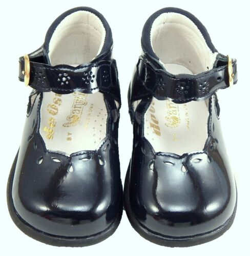 Size 4-6.5 Girls European Navy Blue Patent Leather Dress Shoes DE OSU S-7732