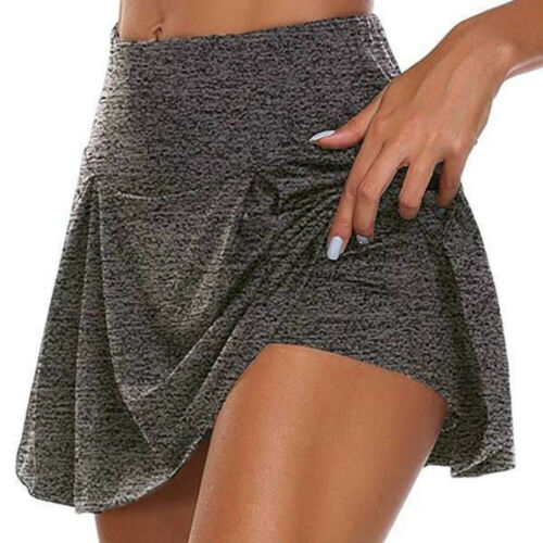 Women Double-Layer Divided Skirt Sport Shorts Quick-Drying Yoga Fitness Skirts