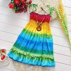 e97922e01c749 Details about Rainbow Tie-Dye Girls Smocked Dress & Necklace Bohemian  Hippie Summer Beach