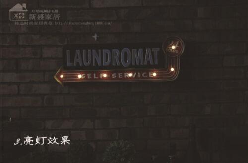 Vintage Lumière DEL Métal Suspendu Signe Laverie laundry shop Art Wall Decor