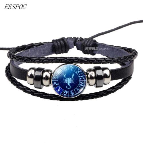 12 Zodiac Signs Braid ZINC Leather Fashion Bracelet Men Women Punk Braid Gift Y1