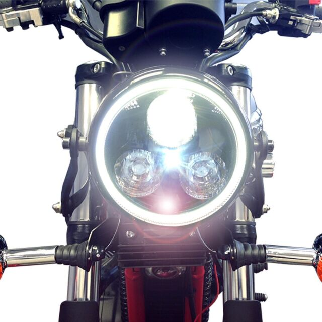 Universal Black Metal Motorcycle LED Headlight Integrated White Angel Eye Ring