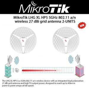 Details about MikroTik LHG XL HP5 US 5GHz 802 11 a/n wireless 27 dBi grid  antenna 2-UNITS