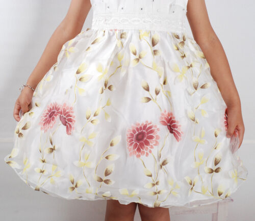 New Girls Floral Summer Party Pageant Dress Pink Ivory in 2-3 3-4 4-5 5-6 Years