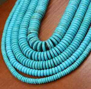 4mm-6mm-8mm-10mm-12mm-Natural-Turquoise-Gemstone-Heishi-Beads-Spacer-New