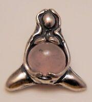 Goddess Of Abundance Pendant .925 Silver Small Motherhood Midwife Rose Quartz