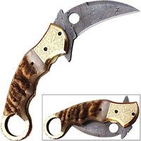 Exotic Tribal Damascus Folding Knife Ram Horn Grip Engraved Brass Bolster Karam