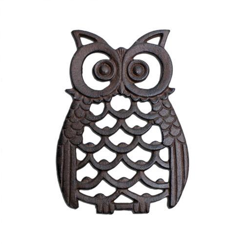 Cast Iron Owl Antique Finish Garden Ornament Wall Art Feature 16cm Tall Design