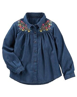 Generous Oshkosh B'gosh Toddler Girls' Embroidered Dark Chambray Top Nwt Shirt Blouse Terrific Value Tops & T-shirts Girls' Clothing (newborn-5t)
