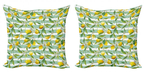 Ambesonne Art Design Cushion Cover Set of 2 for Couch and Bed in 4 Sizes