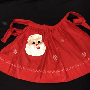 Vintage Mid Century Santa Half Apron Christmas Embroidered Santa Applique As Is
