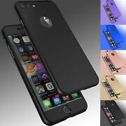 For iPhone 8 6S 7 / 7 Plus Ultra Thin Slim Hard Case Cover+ Tempered Glass