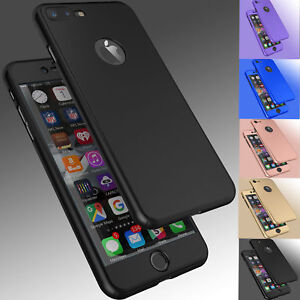 For-iPhone-8-6S-7-7-Plus-Ultra-Thin-Slim-Hard-Case-Cover-Tempered-Glass