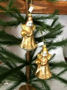 Set of 3  Little Nuremberg Pink Angels  Blown Glass Christmas Ornaments Germany