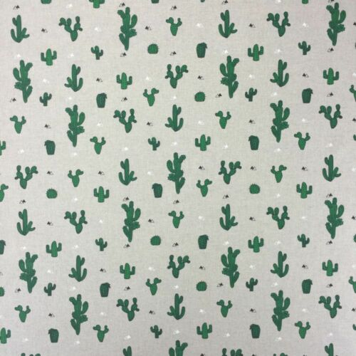 """Cactus Tree Design Cotton Rich Linen Fabric Curtaining /& Upholstery 54/"""" Width"""