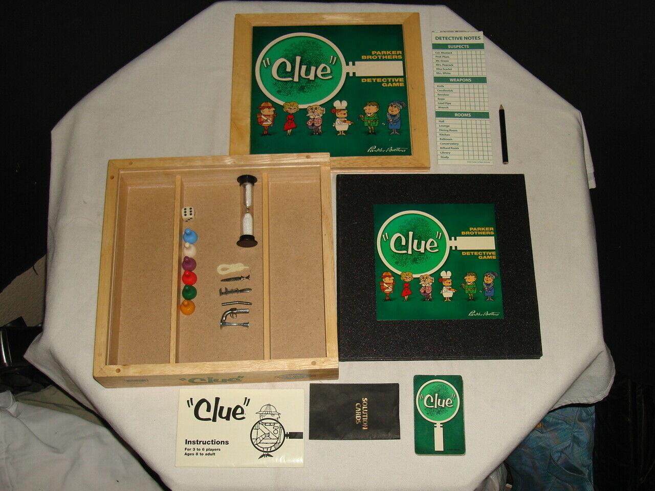 CLUE DETECTIVE BOARD GAME PARKER BredHERS WOODEN CASE WOOD BOX NOSTALGIA SERIES