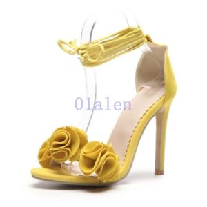 603c84fc05bf0b Womens High Stiletto Heels Party Flower Ankle Strap Strappy Sandals ...