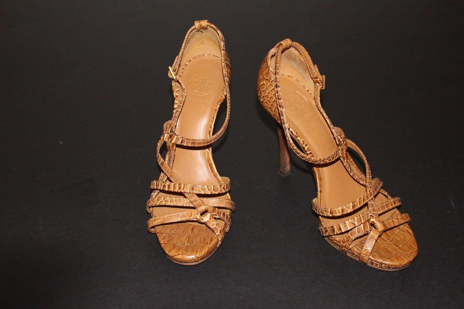 Tory Burch 9 M Tan Croc Embossed Leder Sandale 4.25