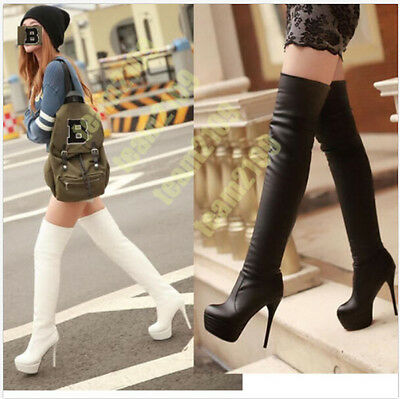 Lady Womens Stilettos Platform Heel Over The Knee High Leg Thigh Boots Plus Size